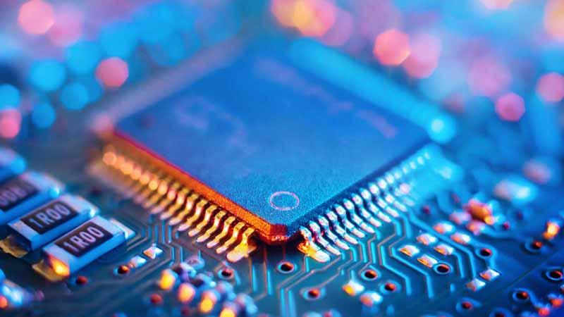 Closeup of a circuit board.