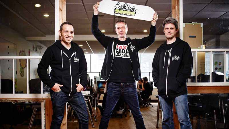 The three founders of East Side Games, acquired by video game company LEAF mobile.