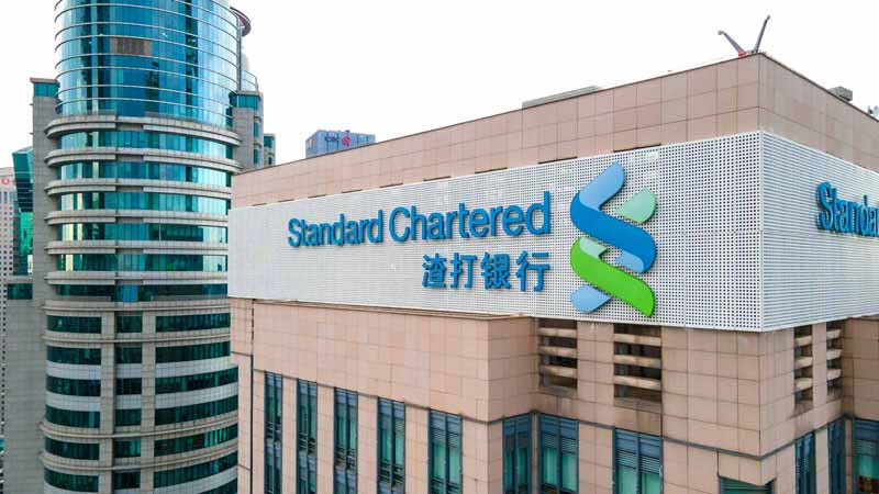 Standard Chartered Bank building in Shanghai, China.