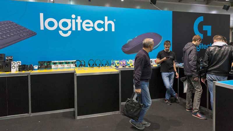 Logitech booth at CEE 2016 exhibition in Ukraine.
