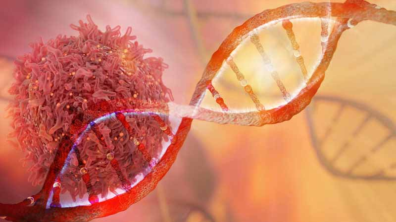 3D rendering of DNA strand and cancer cell.