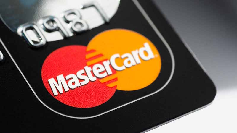Close-up of a Mastercard credit card.