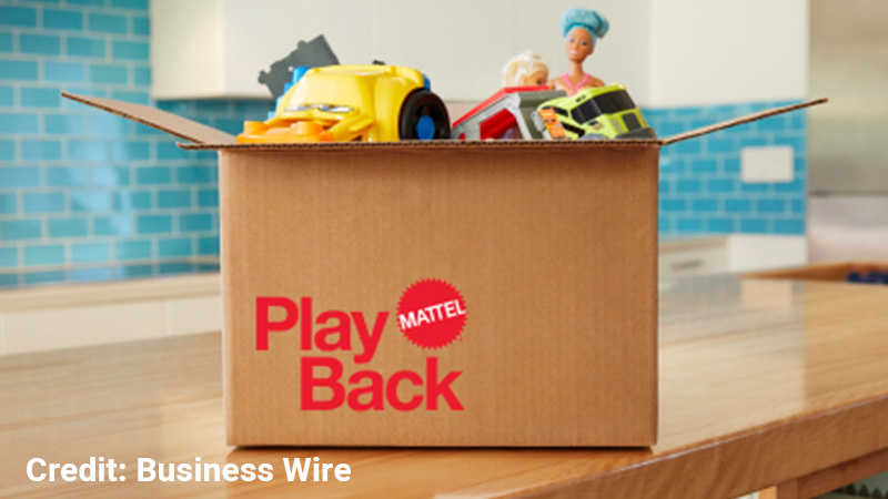A box of Mattel toys ready to be shipped back.