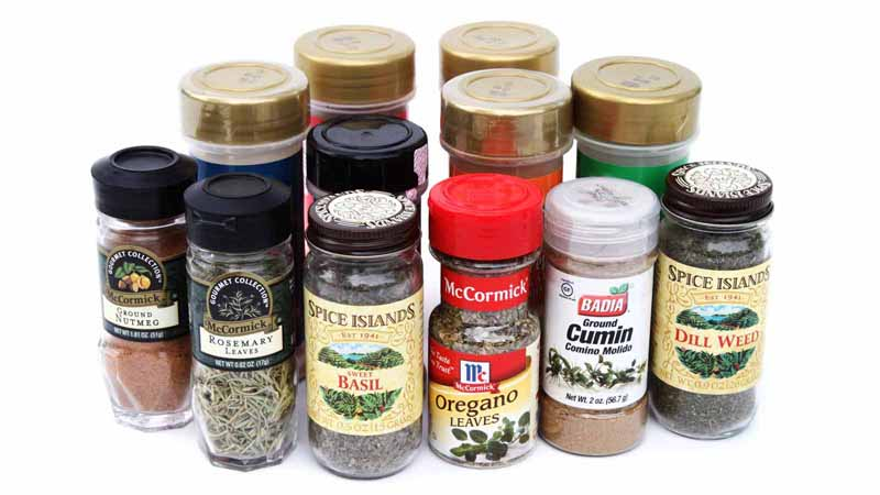 A collection of kitchen spices.