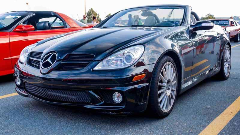 A modern Mercedes-Benz in a parking lot.