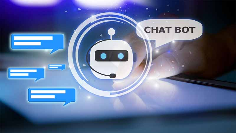 a graphic of a robot using chat bubbles