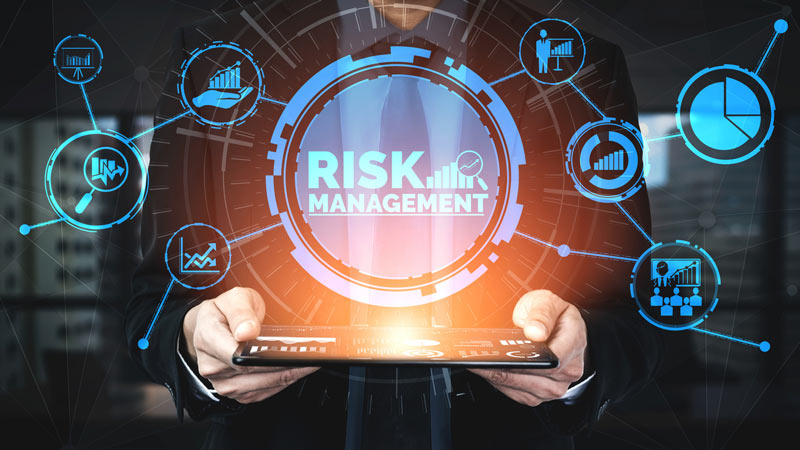 Abstract image showing risk management and assessment for business investment.