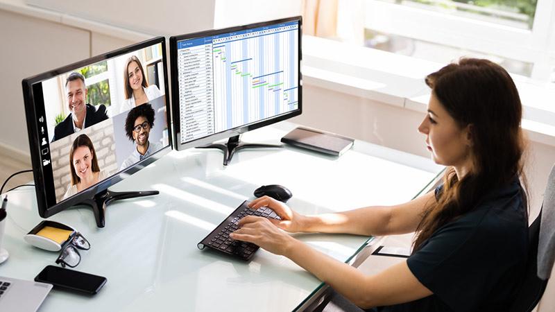 A virtual business meeting.