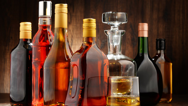 Assorted bottles of alcohol.