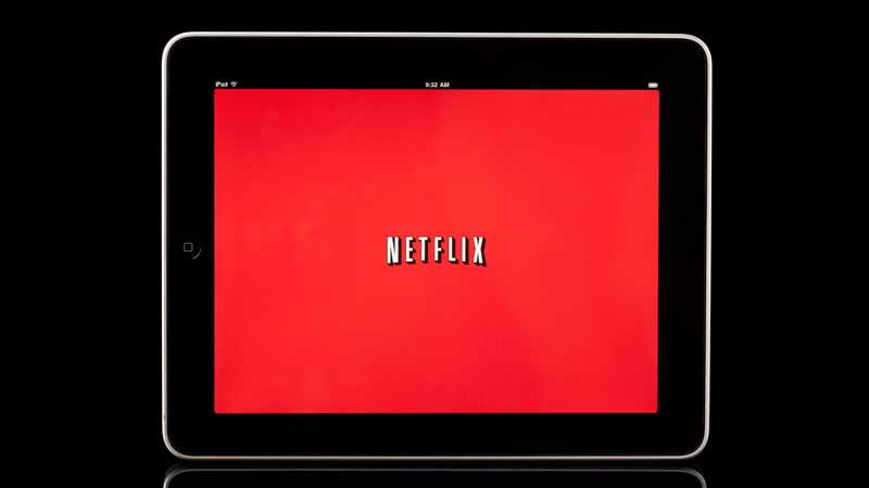Tablet displaying the Netflix logo