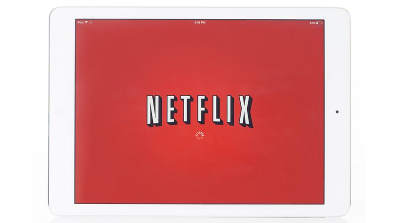 Netflix logo on iPad.