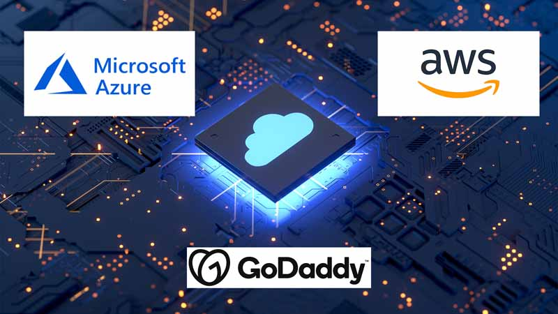 computer circuit board with godaddy, aws, and azure logos on it