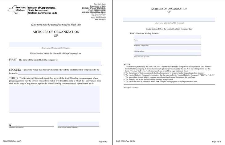 New York Articles of Organization form.