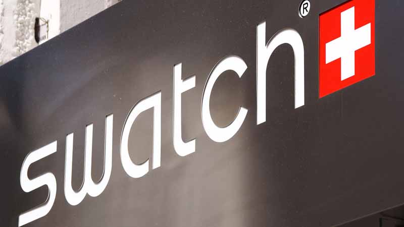 Swatch logo on front of building.