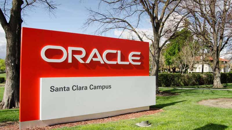 Oracle sign at its Santa Clara Campus.