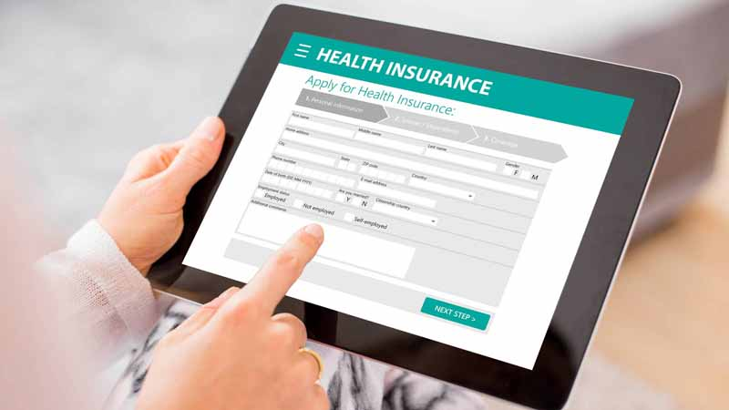 Health insurance form on a tablet.
