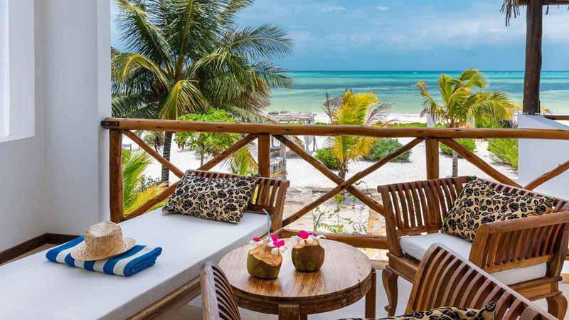 An ocean view from a private beach villa.