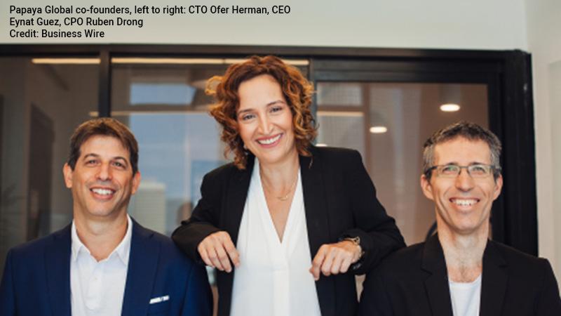 Papaya Global co-founders Ofer Herman, Eynat Guez, and Ruben Drong.