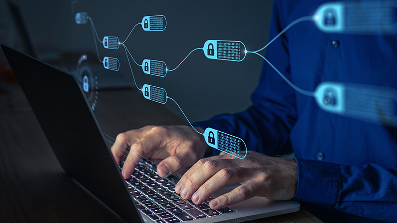 Digital concept of blockchain.