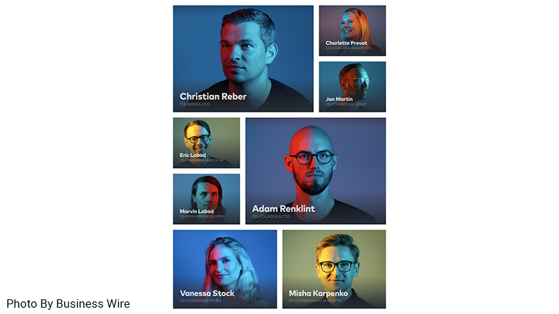 Collage of Pitch founding members: Christian Reber (CEO), Charlette Prevot (Head of Ops), Jan Martin (Designer), Eric Labod (Head of QA), Marvin Labod (Developer), Adam Renklint (CTO), Vanessa Stock (VP People), and Misha Karpenko (Lead Developer).