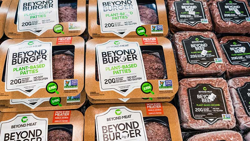 Packages of Beyond Beef by Beyond Meat.