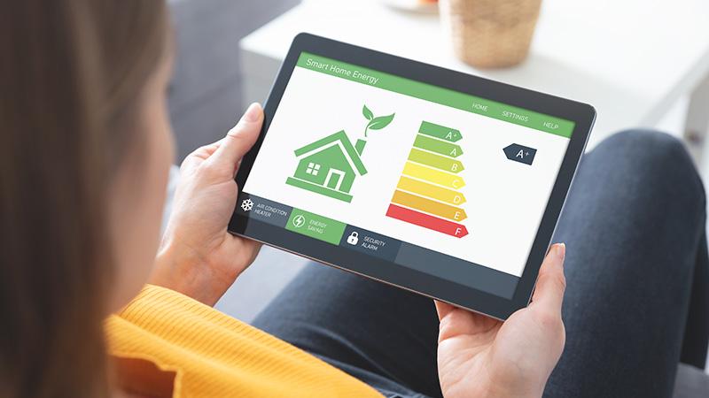 An energy efficiency app on a tablet.