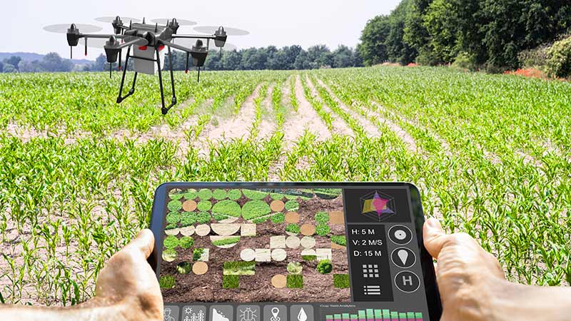 A drone and tablet used for agriculture.