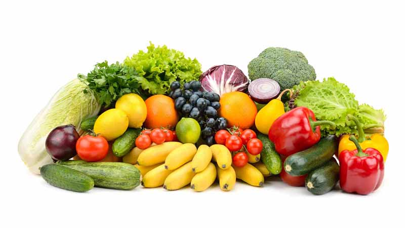 Various fruits and vegetables.