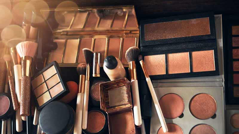 A collection of makeup products.