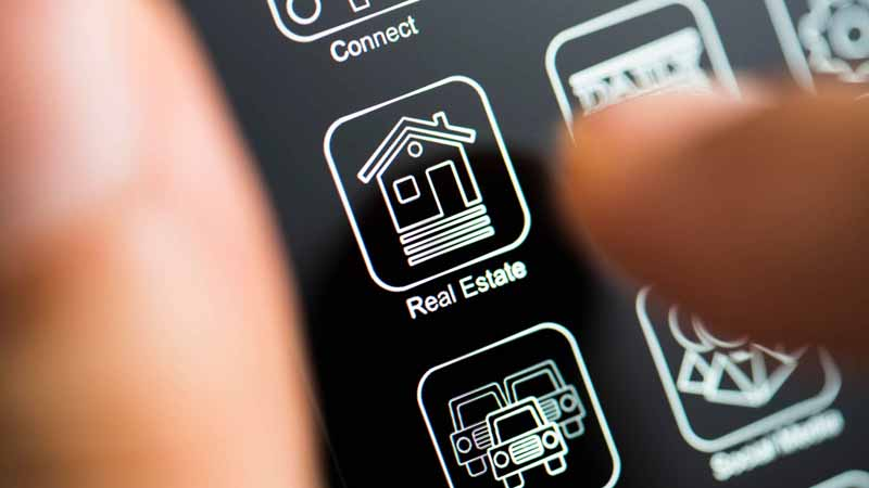 A real estate app on a smartphone.