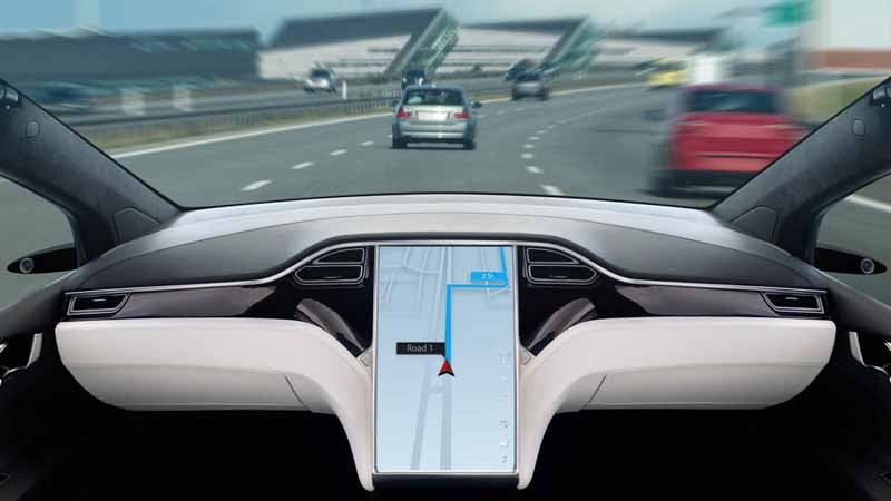 A self-driving car on a highway.
