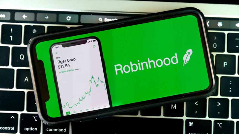 Phone showing Robinhood app.