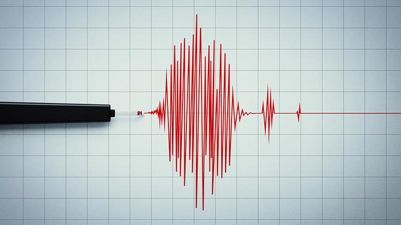 A seismograph recording an earthquake.