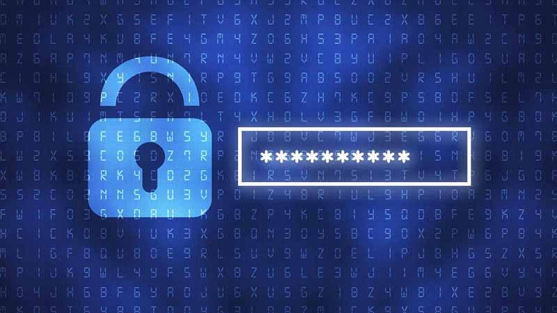 Digital padlock next to a password field.