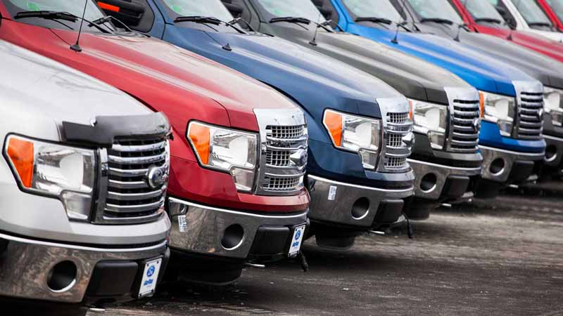 A row of Ford F-250 vehicles.