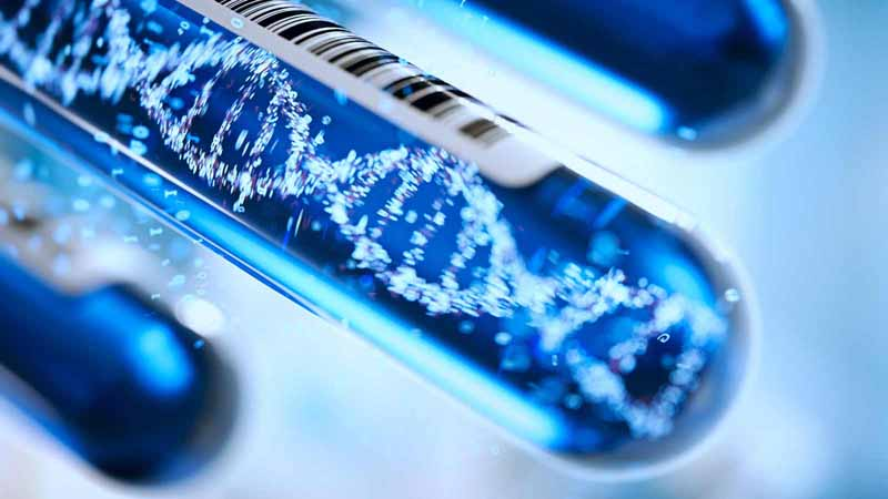 3D rendering of a DNA molecule forming in a test tube.