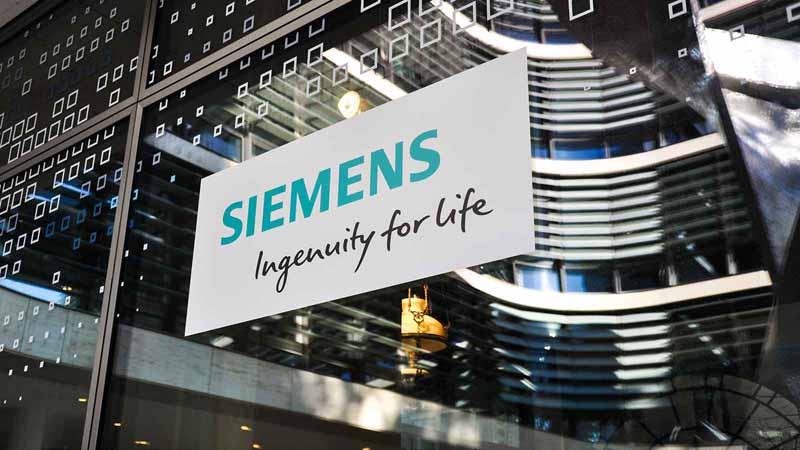 Siemens logo at their Munich headquarters.