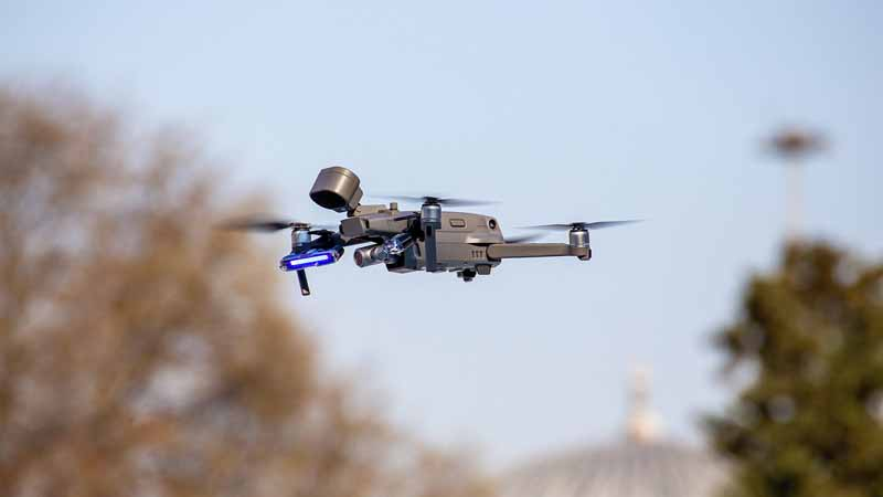 A drone hovering midair.