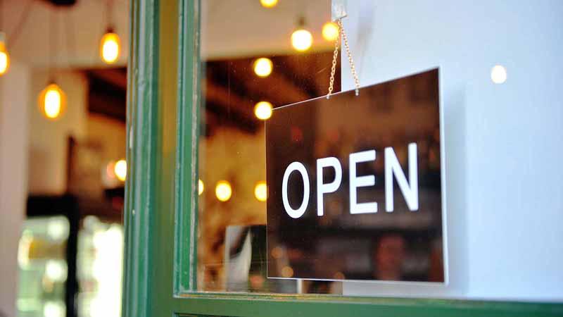 Open sign on a door.