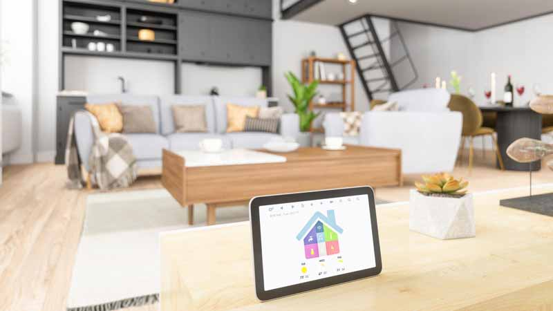 A home automation system on a tablet.