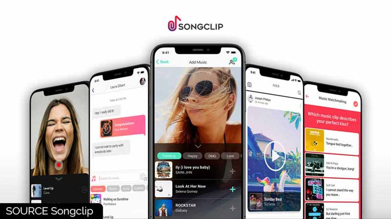 Songclip app features shown on smartphones.