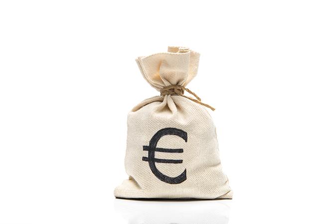 Money bag with a Euro symbol.