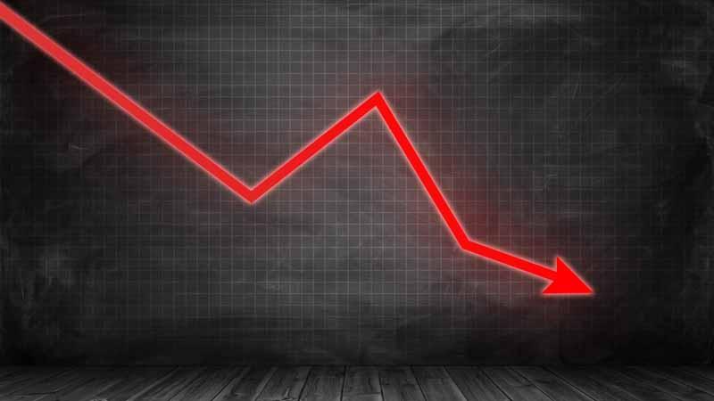 A downward trending line graph.