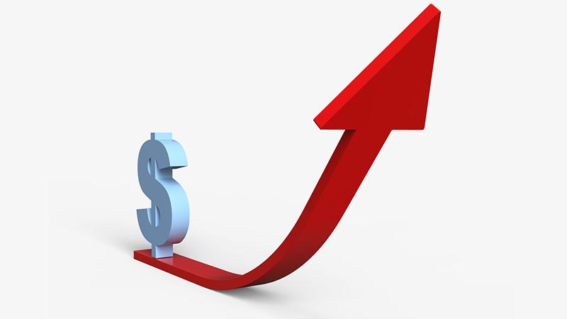An upward trending financial graph.