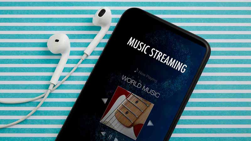 Music streaming on a smartphone.