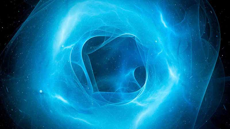 Computer rendering of a blue plasma force field.
