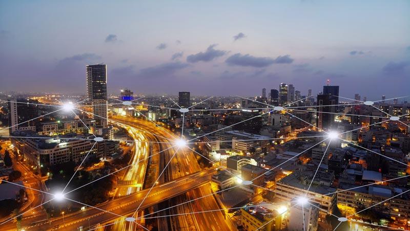 Modern city connectivity.