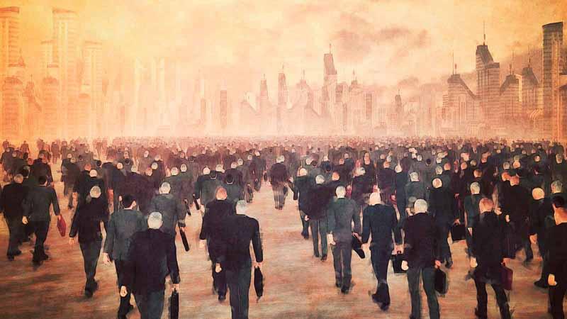 Businessmen walking through a city.