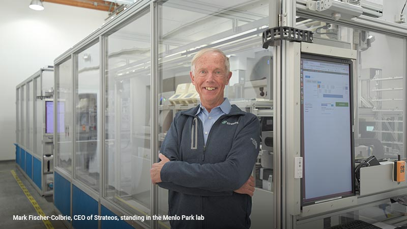 Mark Fischer-Colbrie, CEO of Strateos, standing in the Menlo Park lab.