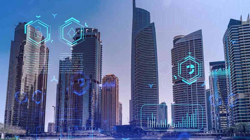 Dubai skyline with technology icons.